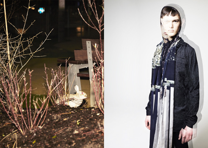 Dominik wears a jacket by Ethel Vaughn, sakko by Y3, sweater by 5preview, scarf by Julia and Ben