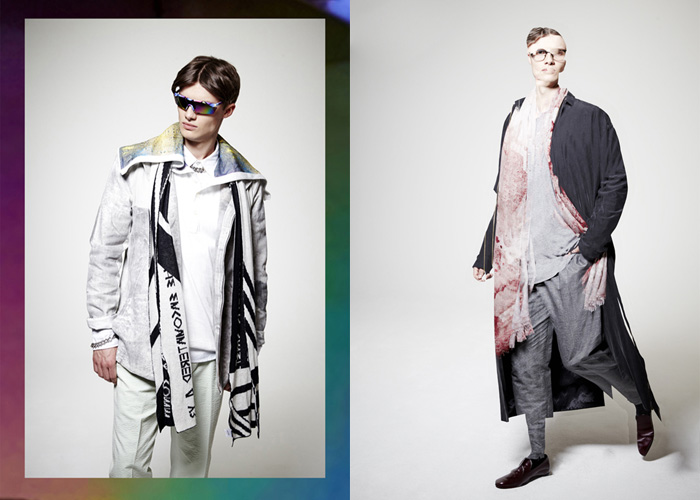 Felix wears a coat by Weekday, sweater by Esprit, pants by Tommy Hilfiger, scarfs by by Julia and Ben, glasses by Dita and shoes by Scarosso. Felix wears a shirt by Y3, jacket by Julia and Ben, pants by Hackett, scarf by Y3, glasses vintage and necklace by the stylist's studio