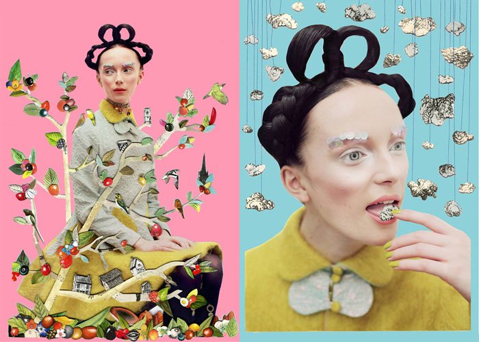 All clothes by DAGDA. Photography by Eleanor Hardwick, fashion by DAGDA and collages by Ben Giles. Hair and make up by Ammy Drammeh and modeling by Maxine.