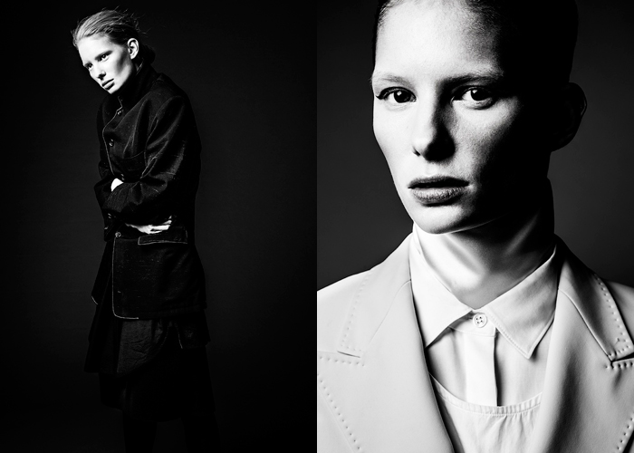 Jacket by Yohji Yamamoto, apron by Erik Litzén. Jacket, shirt by Acne Studios, apron by Erik Litzén, scarf stylist's own. Photography by Jasmin Storch and fashion by Martin Persson. Hair and make up by Catherine Dichy. Modeling by Mimmi@MIKAS
