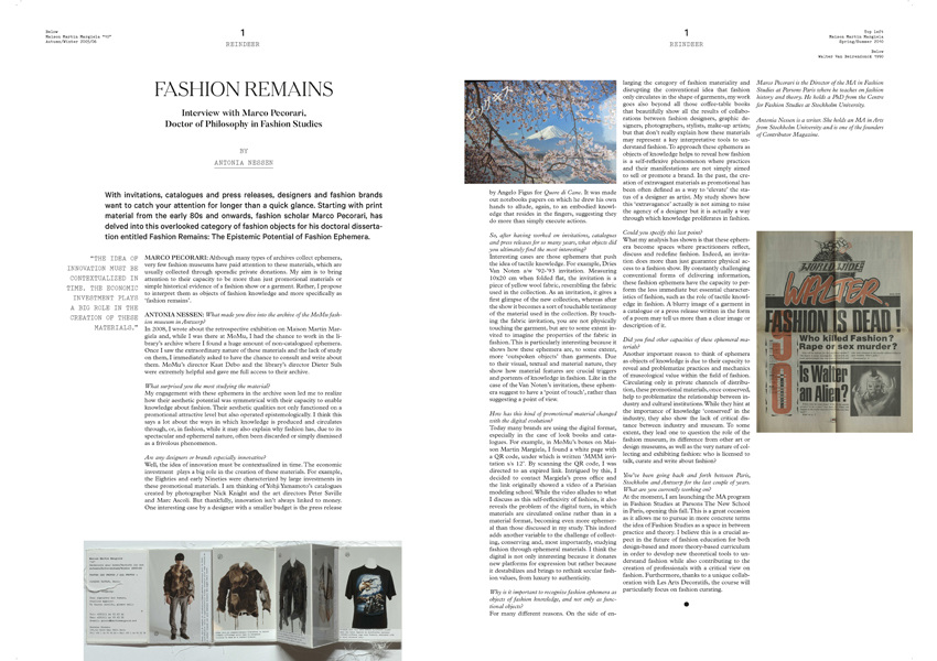Fashion Remains. Interview with Marco Pecorari