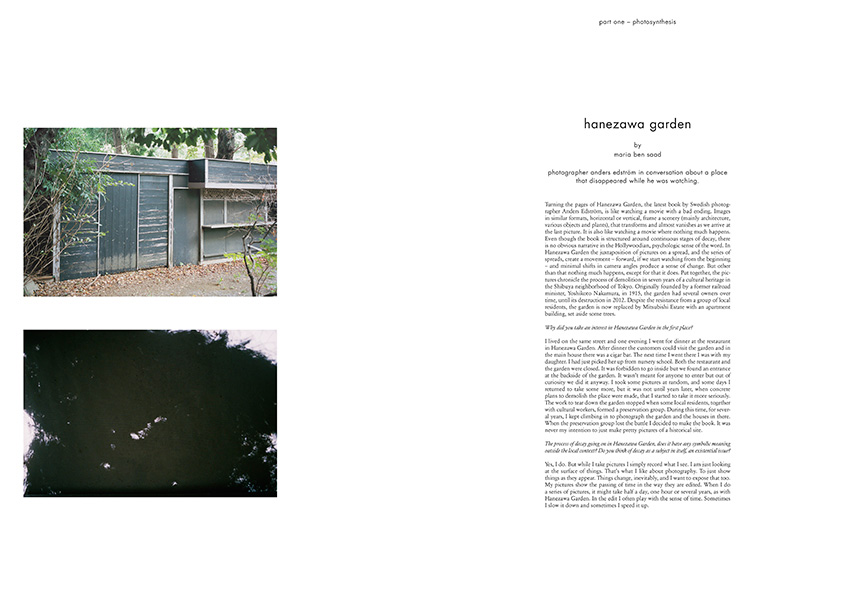 Hanezawa garden. Interview with Photographer Anders Edström